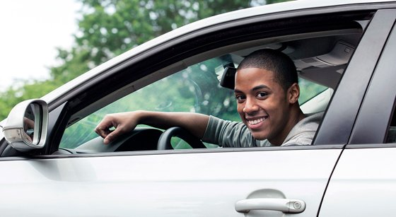 northwest indiana teen taking a driving class in a grey car